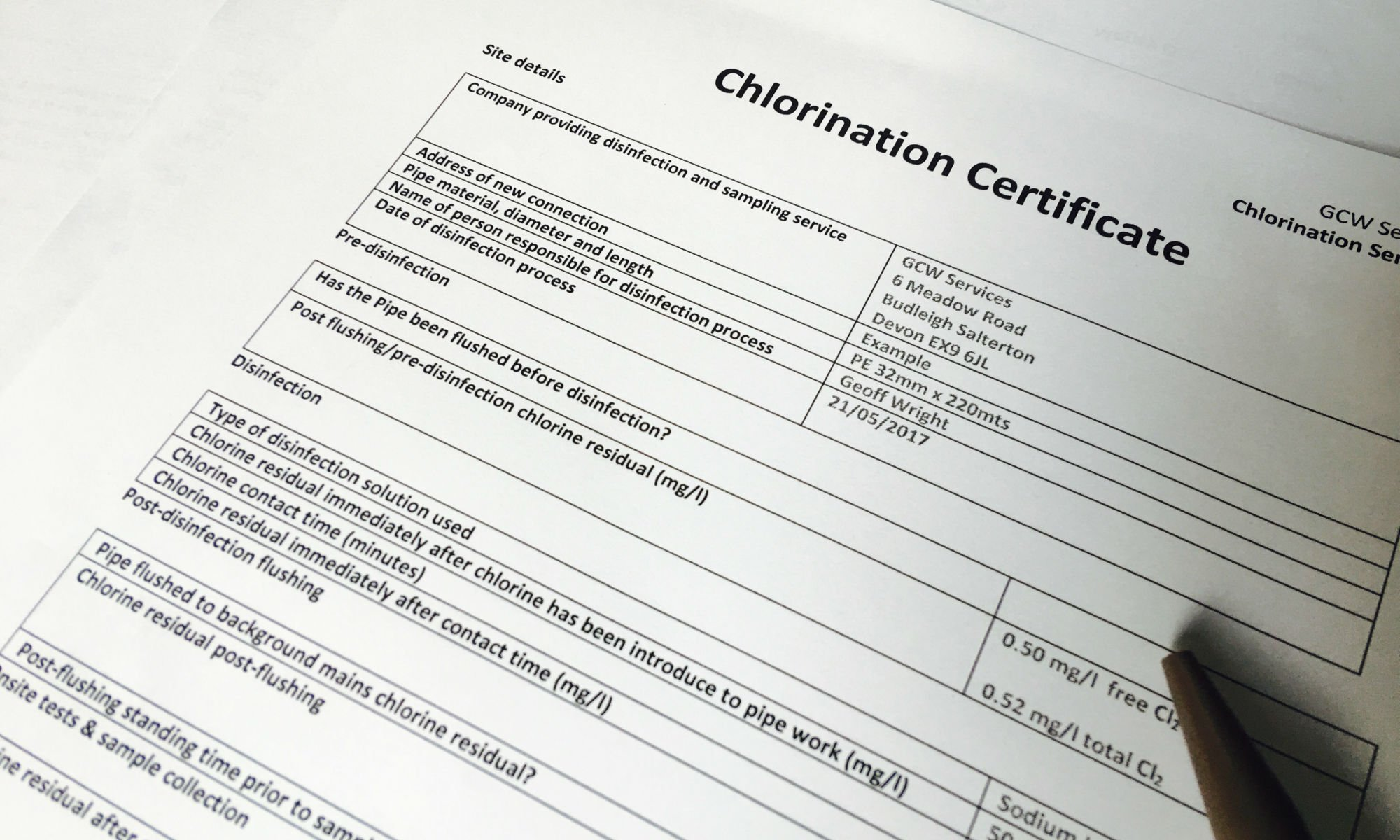 Chlorination Certificate Example provided by GCW Services